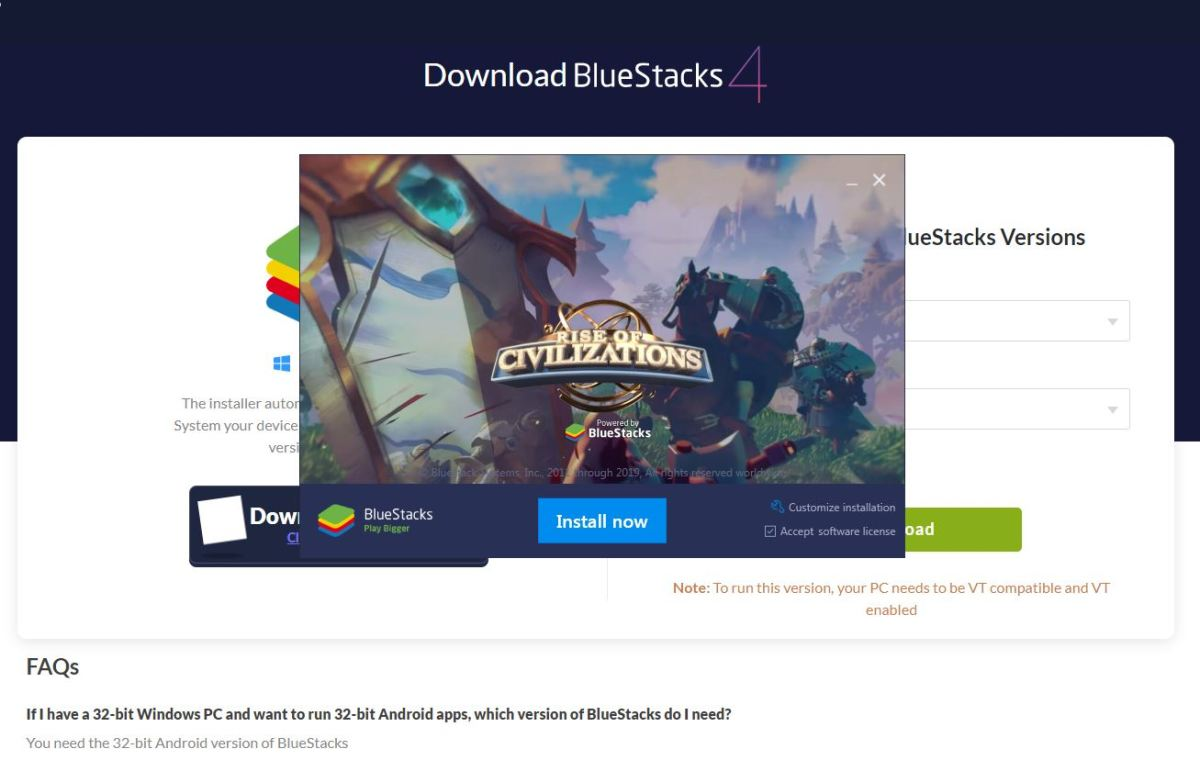 Installing BlueStacks