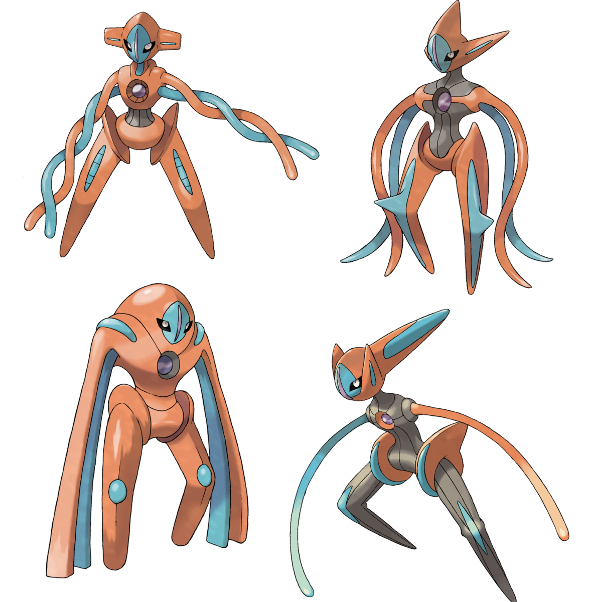 Deoxys in Normal, Attack, Defense, and Speed Formes