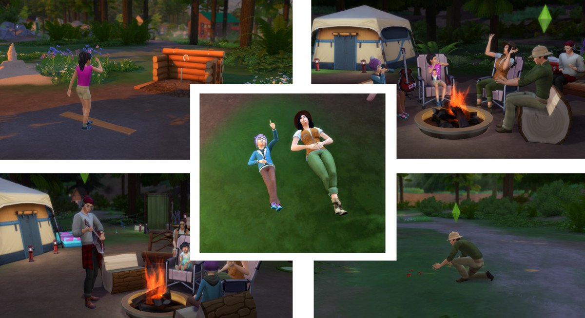 """Some new activities in """"The Sims 4: Outdoor Retreat"""". Your Sims can stargaze (or cloud gaze), catch and collect insects, play horseshoes, roast weenies or marshmallows around the campfire, tell ghost stories or sing campfire songs."""