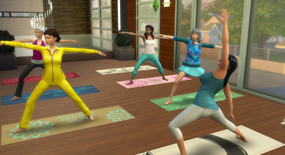 Your Sim will start off a little wobbly in yoga, but as her wellness skill increases she will be able to do impressive poses with ease.