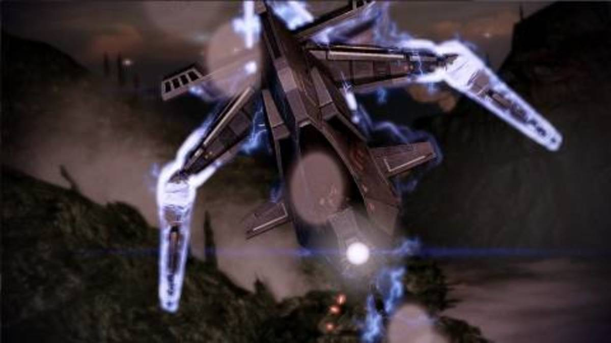 "Gunships as they appeared in ""Mass Effect 2."""