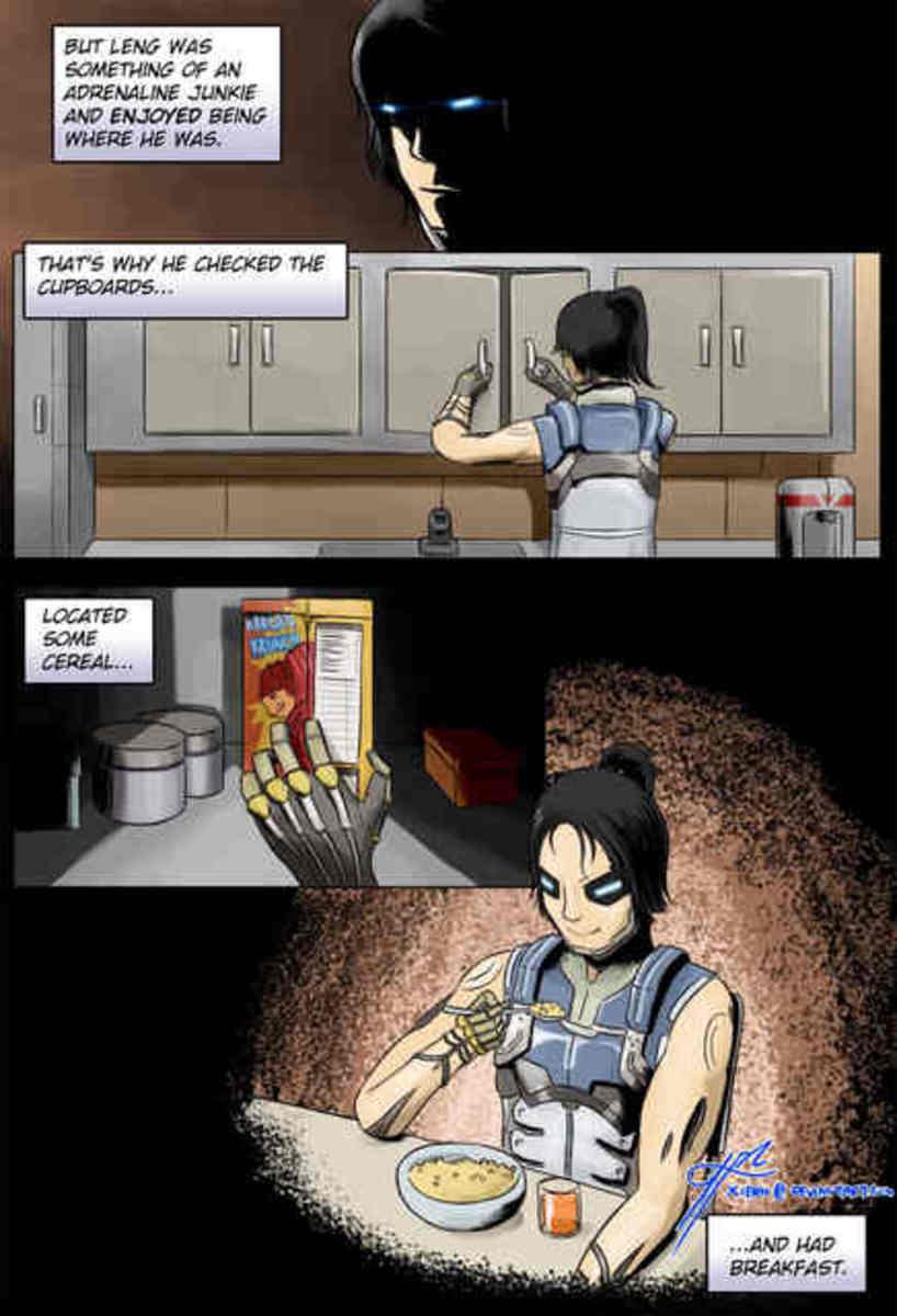 "Kai Leng ""killing cereal"" in the comics."
