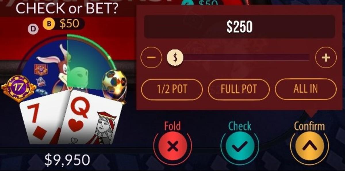 "The ""Zynga Poker"" bet controls."