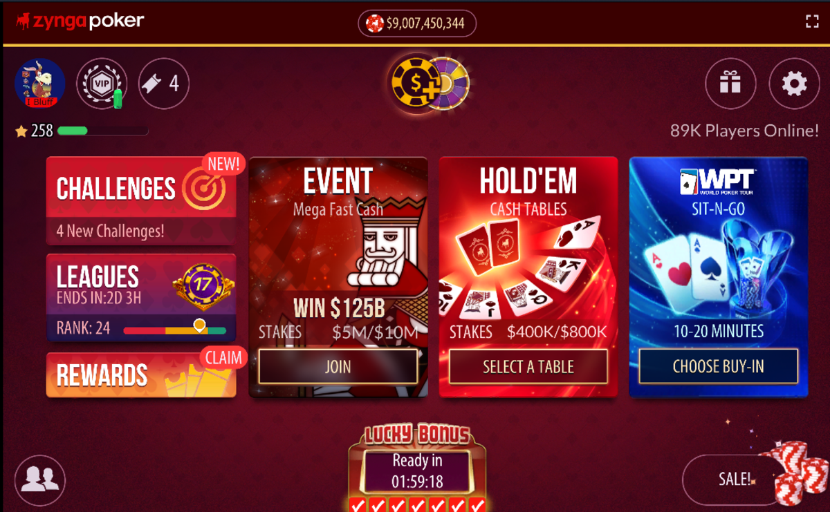 "The ""Zynga Poker"" main menu screen."
