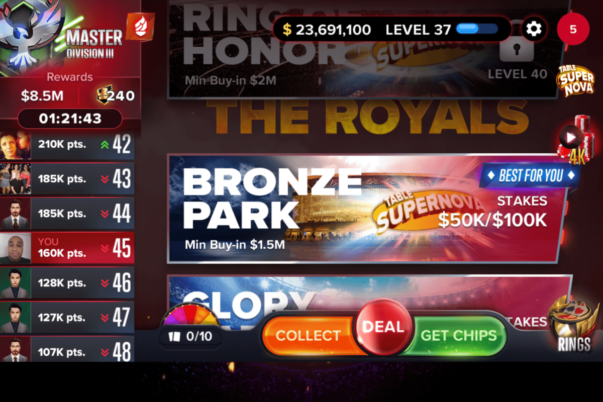 "The ""Poker Heat"" main menu screen."