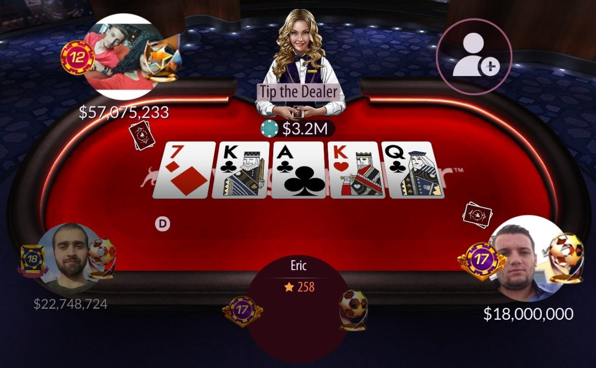 "A ring game table from ""Zynga Poker""."
