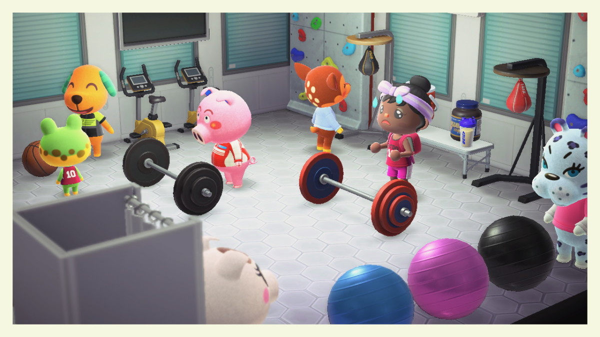 My character (centre) isn't a fan of working out, but it looks like Biskit and Henry are having a fun b-ball game to the left.