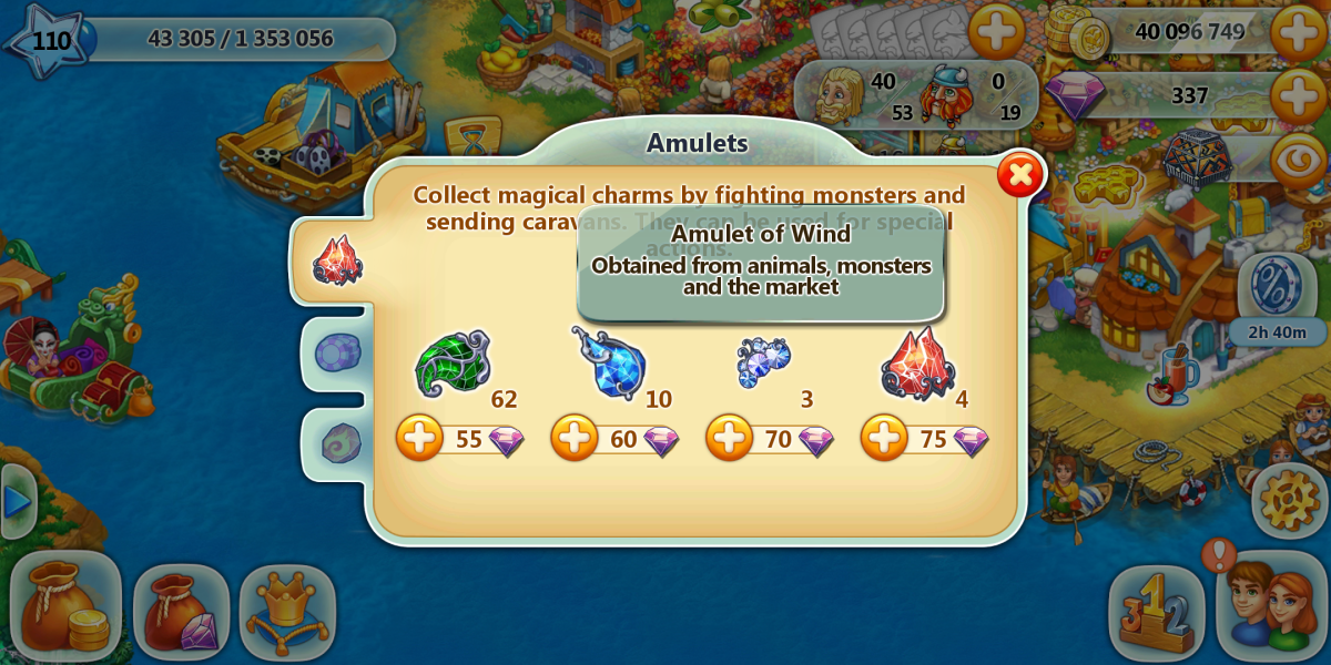 """Amulets of wind are required for making thunder bows, a much needed magical weapon in """"Harvest Land""""."""
