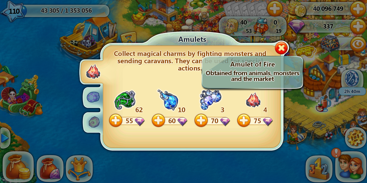 """Fire amulets are the most needed and often hardest obtained amulets in """"Harvest Land"""" gameplay."""