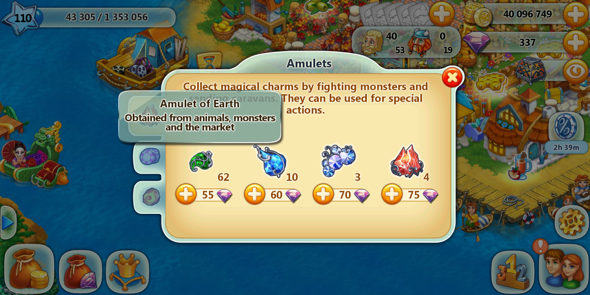 """The amulet of earth is the most common in """"Harvest Land"""" gameplay. It is awarded frequently."""