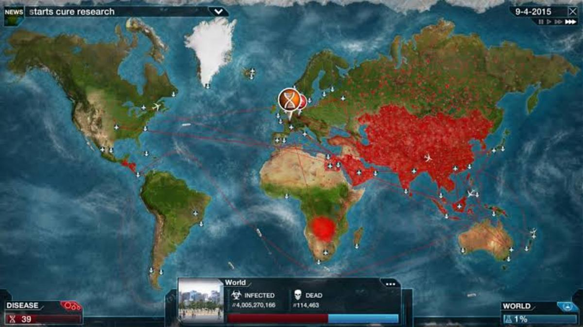 "An example of ""Plague Inc."" gameplay. Photo by NDemic Creations."