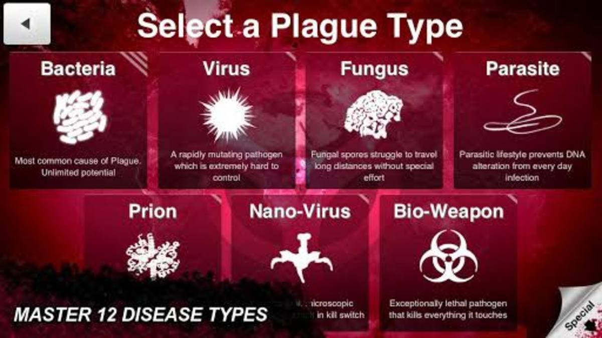 Standard Plague types selection panel of the game. Photo by Miniclip.com