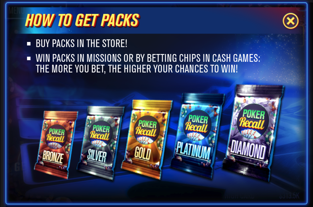 These are the card packs you can find playing Poker Recall.