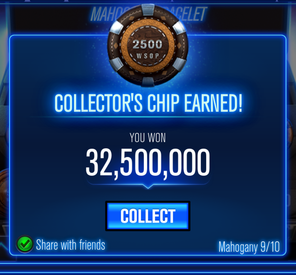 "This is the ninth chip in the Mahogany ""WSOP"" bracelet collection."