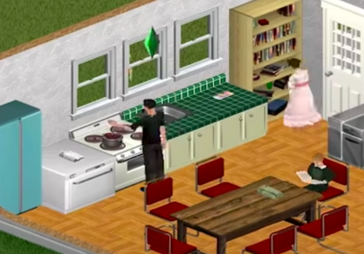 A Sim cooking a meal without setting the kitchen on fire.