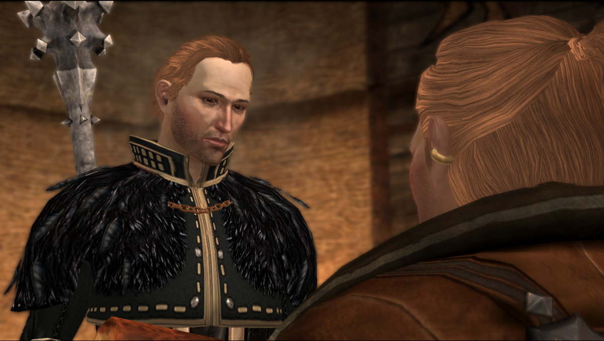 Anders gives Varric his pillow.