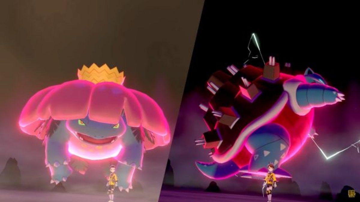 Gigantamax Venusaur and Blastoise in battle.