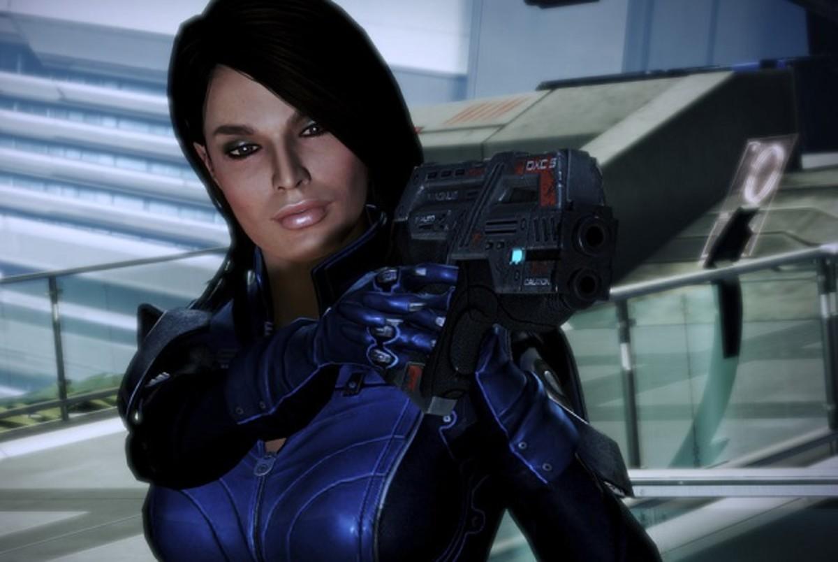 "Ashley points a gun at Shepard in ""Mass Effect 3."""