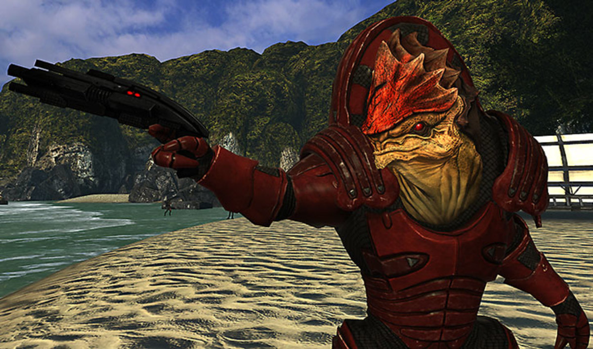 Wrex shoots the water on Virmire.