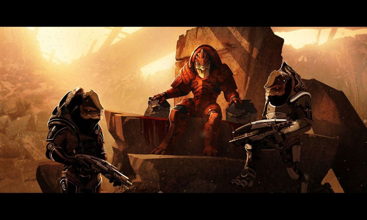 """Art of Wrex in """"Mass Effect 2."""""""