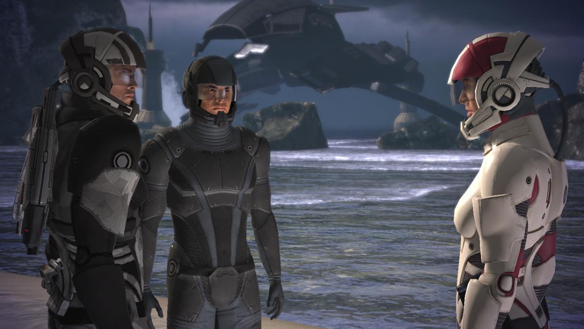 Ashley, Kaidan, and Shepard on Virmire.