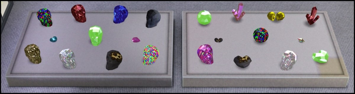 A variety of gemstones made through transfiguration.