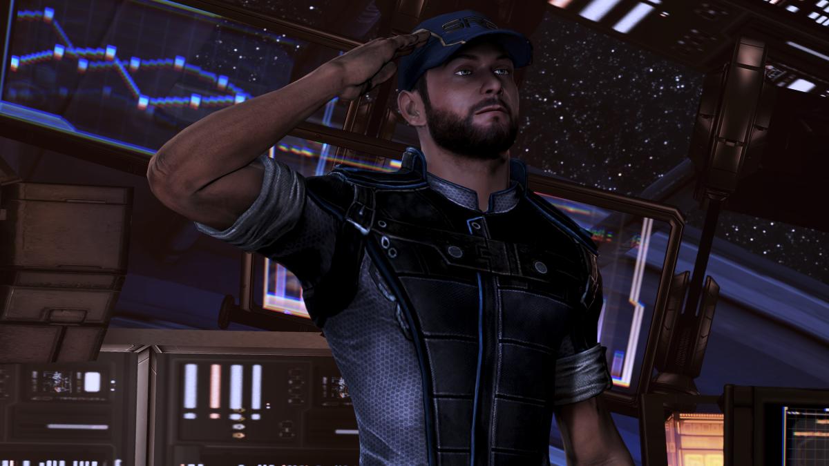 """Joker salutes Shepard in """"Mass Effect 3."""""""