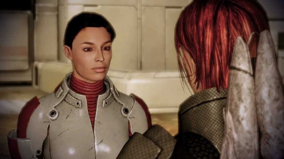 "Ashley faces Shepard on Horizon in ""Mass Effect 2."""