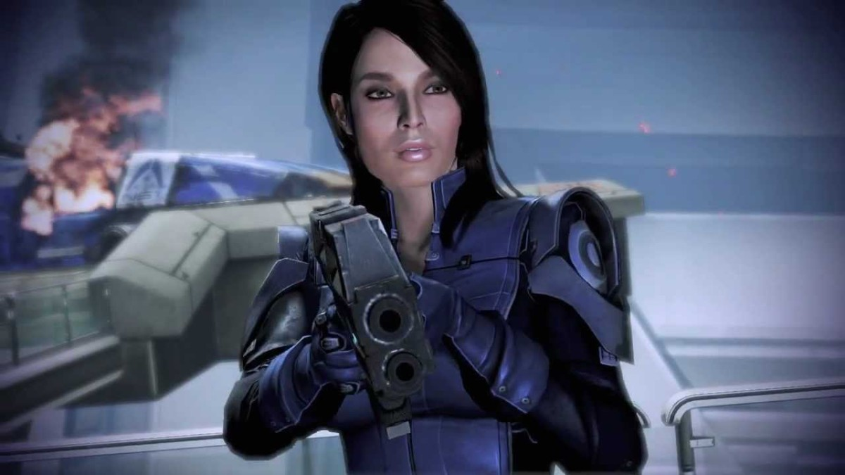 Ashley points a gun at Shepard during the Citadel Coup.