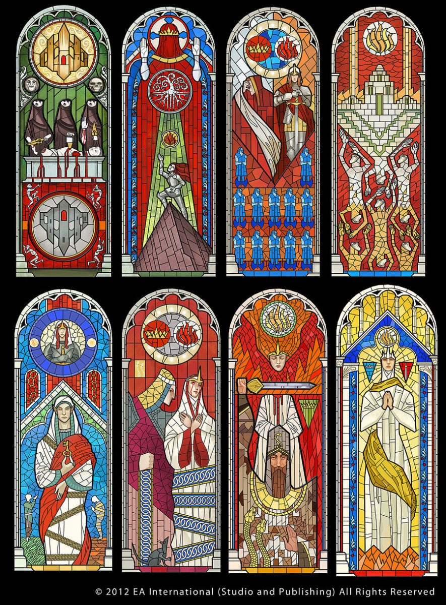 "The Chantry stained glass windows from ""Inquisition."""