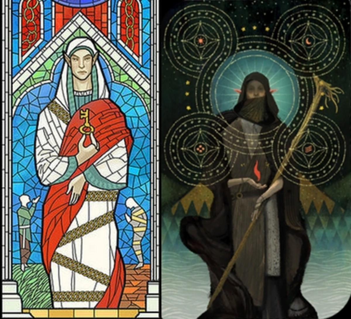 "Shartan's stained glass window and Solas' tarot card from ""Inquisition."""