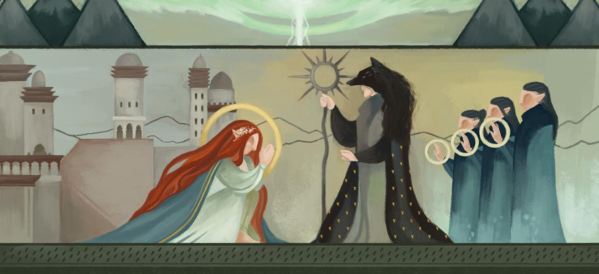 Fan art of the Dread Wolf blessing Andraste.
