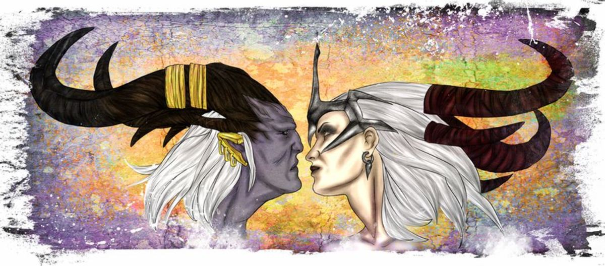 Fan art of the Arishok and Flemeth. The qunari are just dragon people.