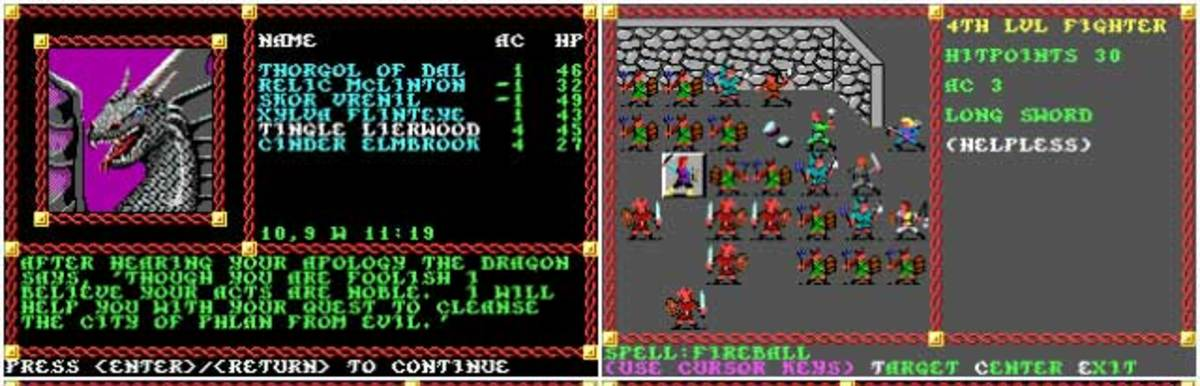 Pool of Radiance in-game screens