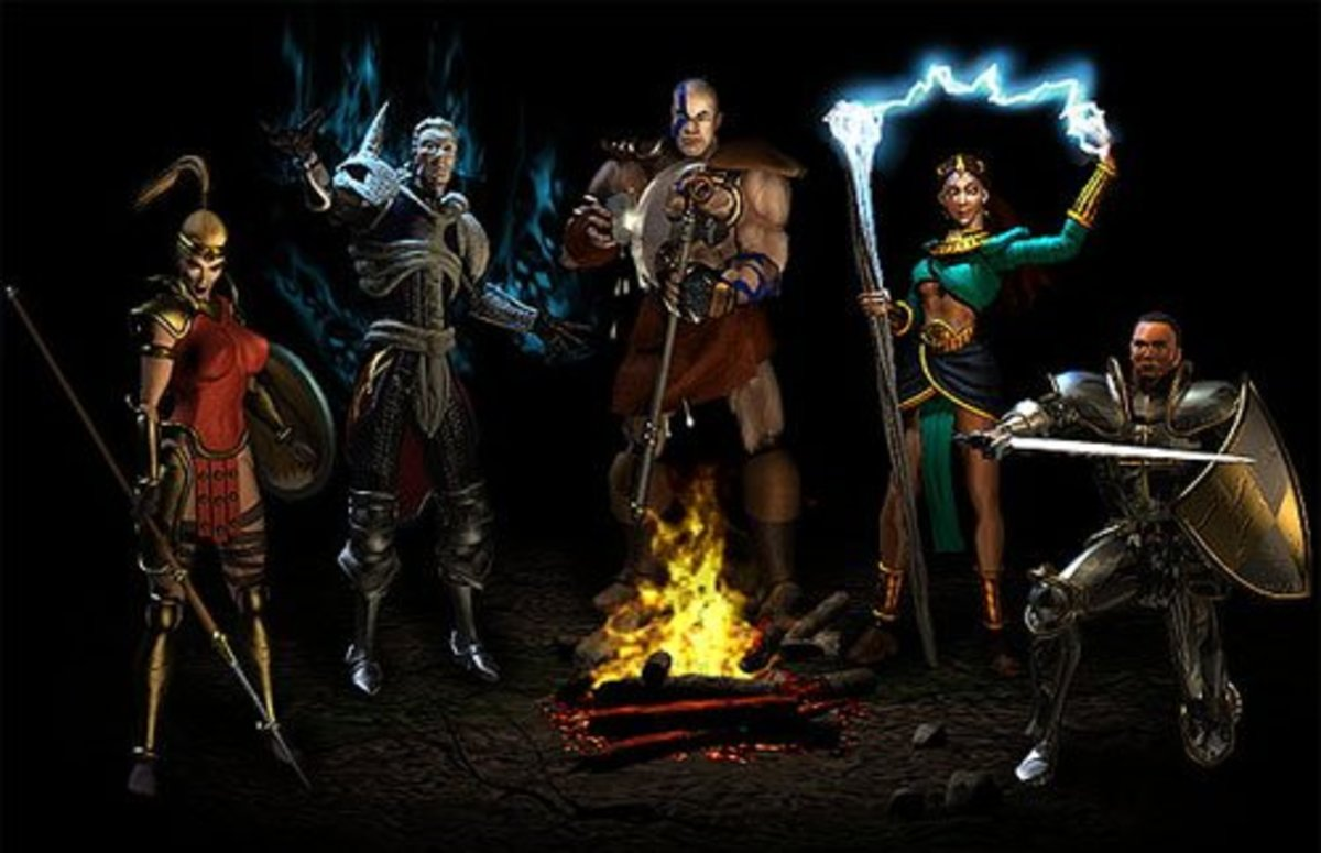 The Diablo II character classes: Amazon, Necromancer, Barbarian, Sorceress, and Paladin.