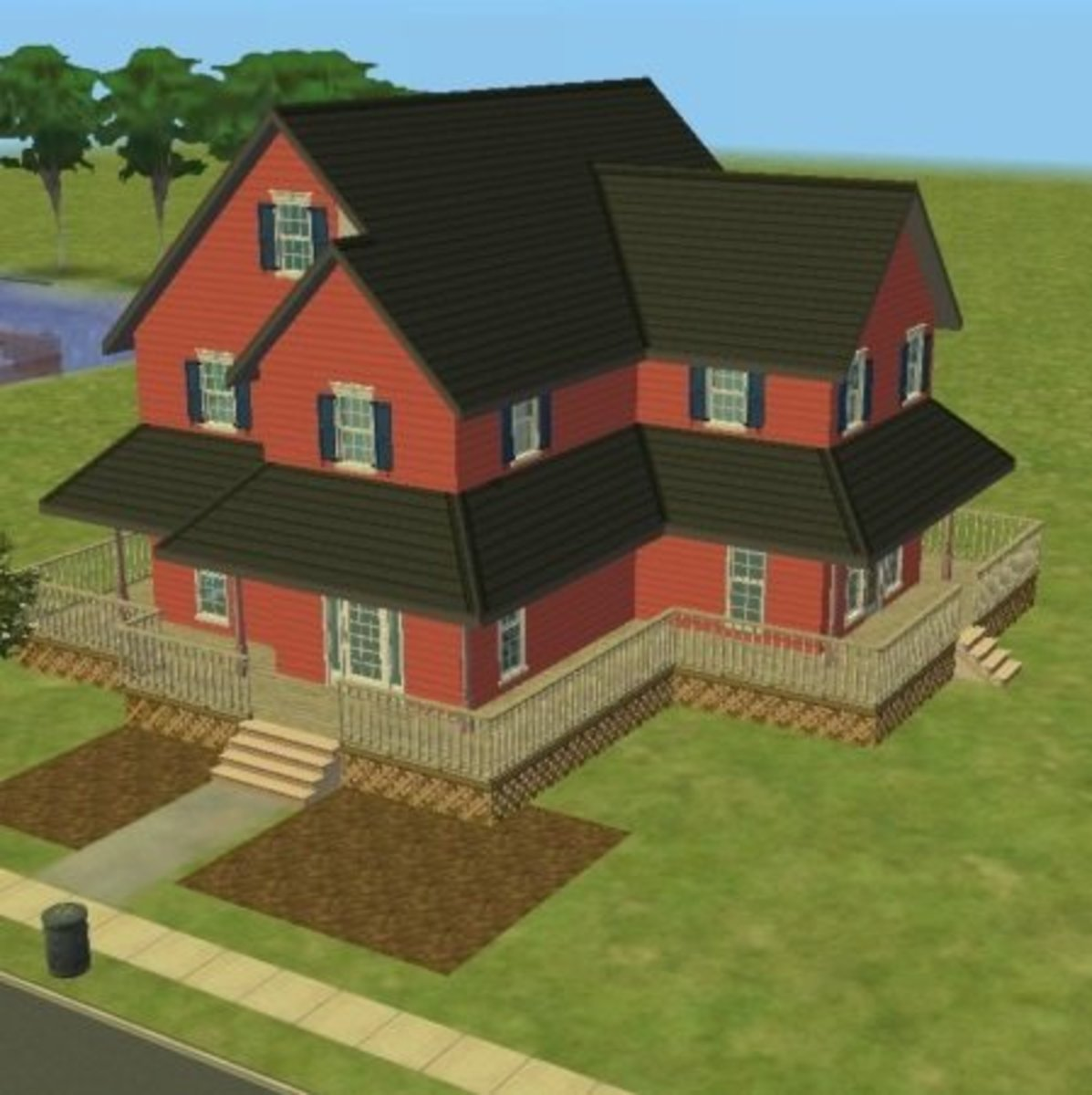 """An impressive-looking house in """"The Sims 2."""""""