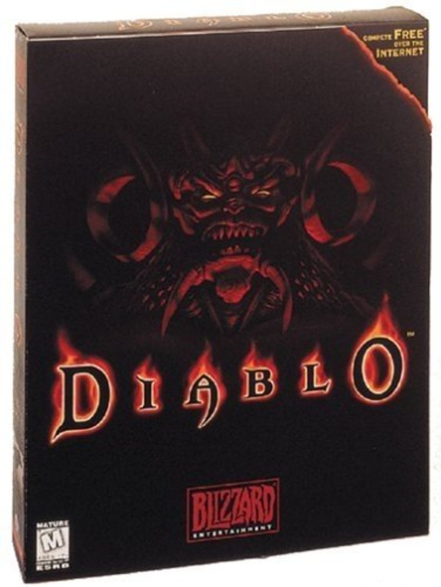 "Here's the official packaging for the ""Diablo"" video game. Mr. Diablo himself is featured on it. Follow these tips and tricks, and you may defeat him yourself one day."