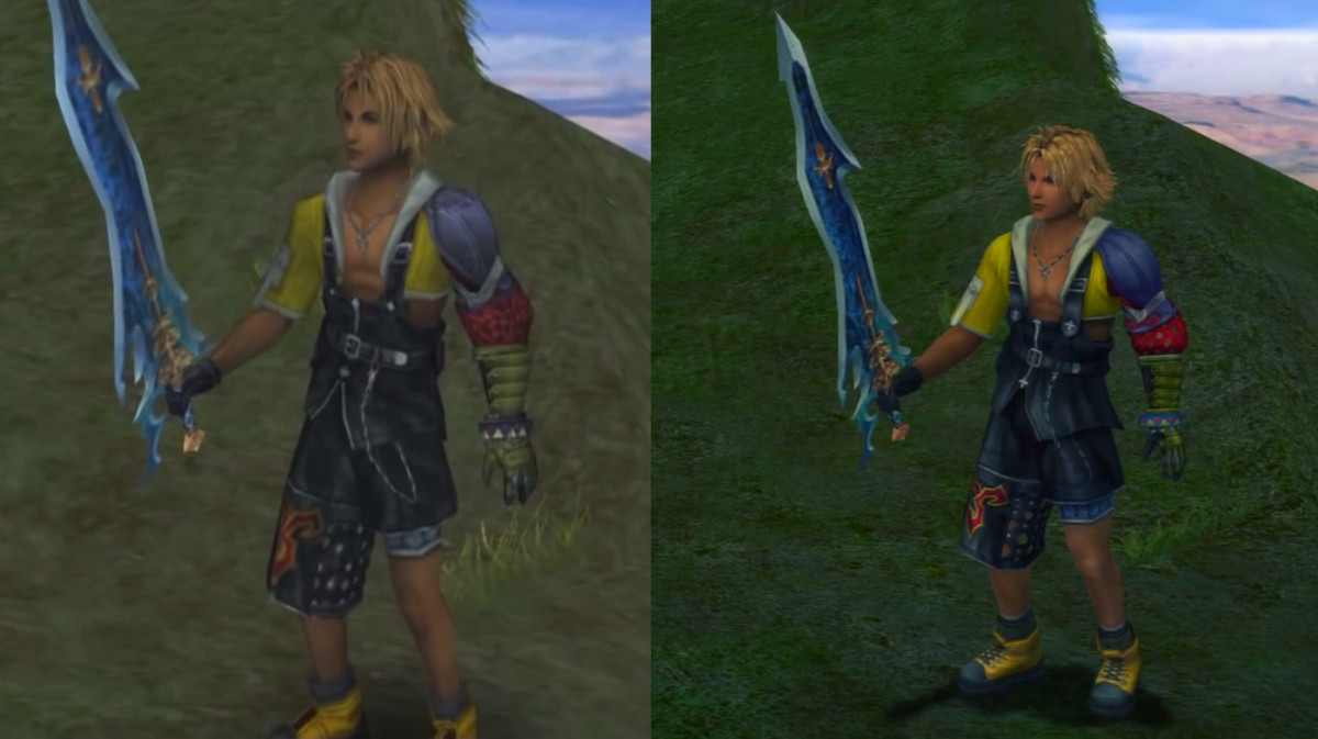 "Tidus' celestial weapon Caladbolg in original PS2 ""FFX"" vs. PS3 remaster."