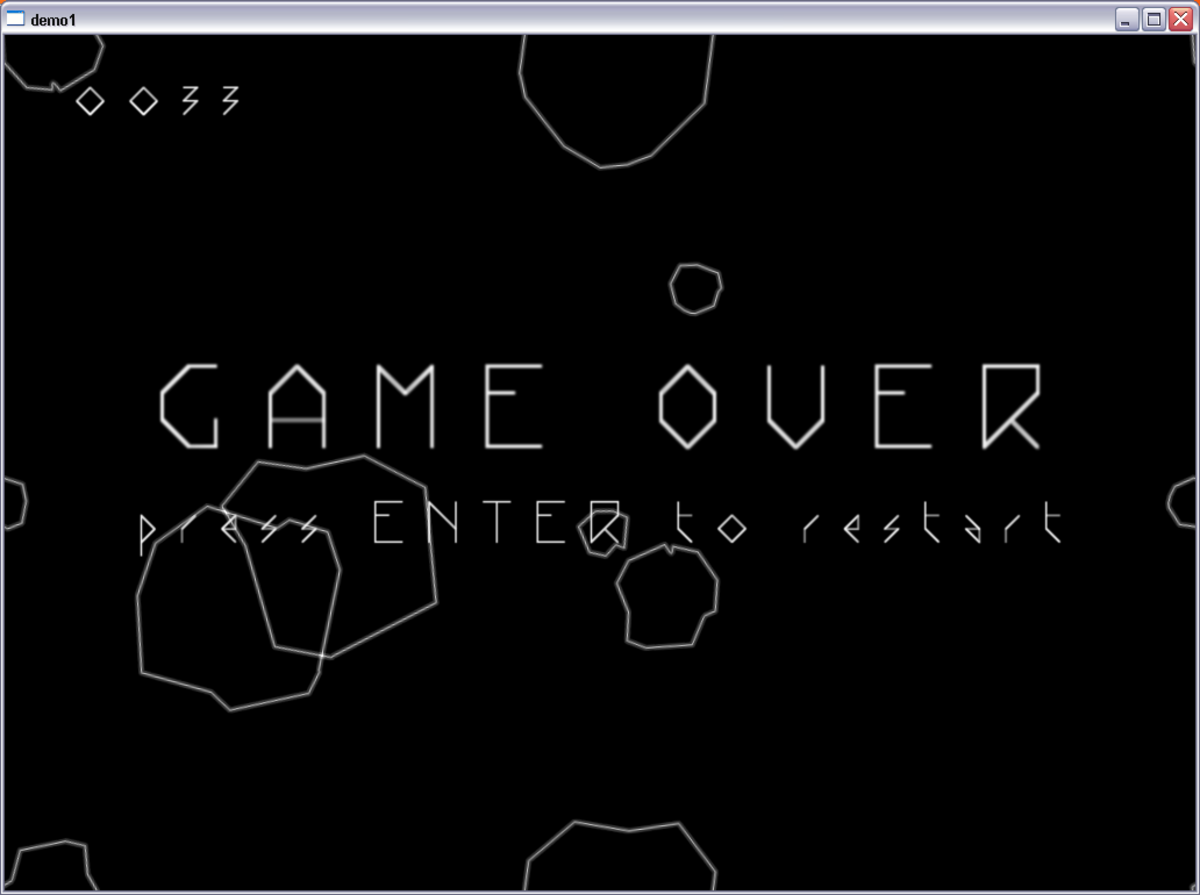 Game over man, Game over! You succumb to the horde of asteroids in this classic game