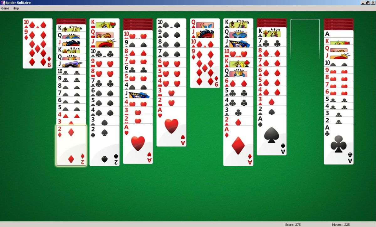 spider solitaire - starting to look good