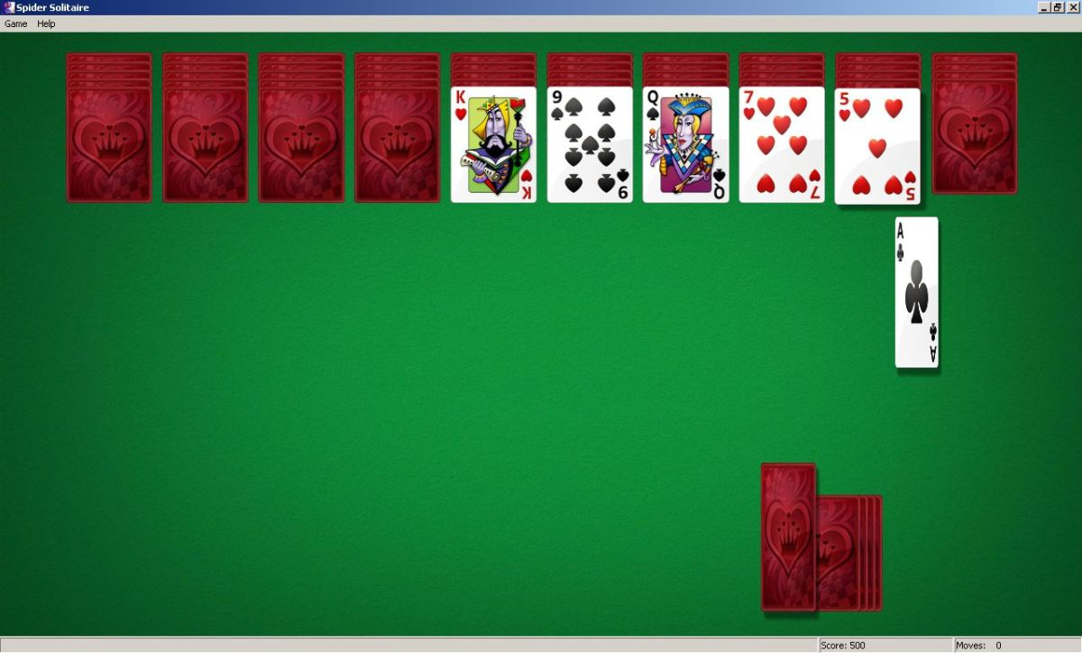 Spider solitaire - the last line of cars turn face up