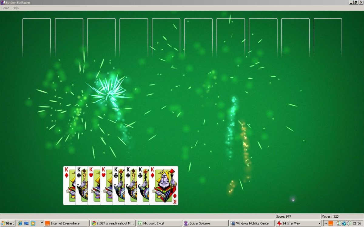 Woo-hoo! I won! Spider solitaire rocks!!