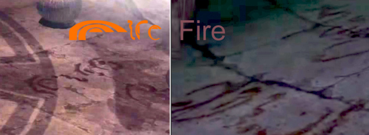 """Fire"" on ground floor (left) and balcony (right). Balcony also has fuzzy ""salam"" in background."