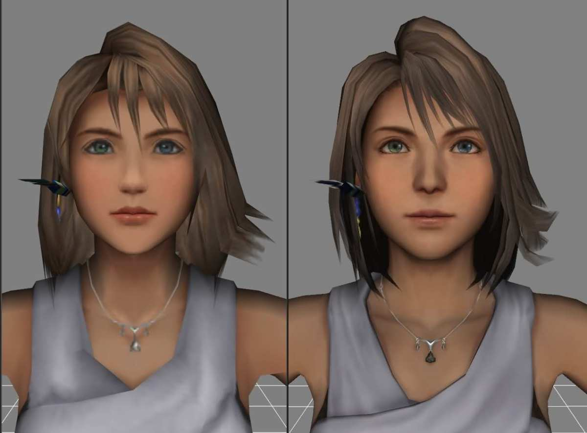 """low polygon"" vs. ""high polygon"" models of Yuna in original PS2 Final Fantasy X."