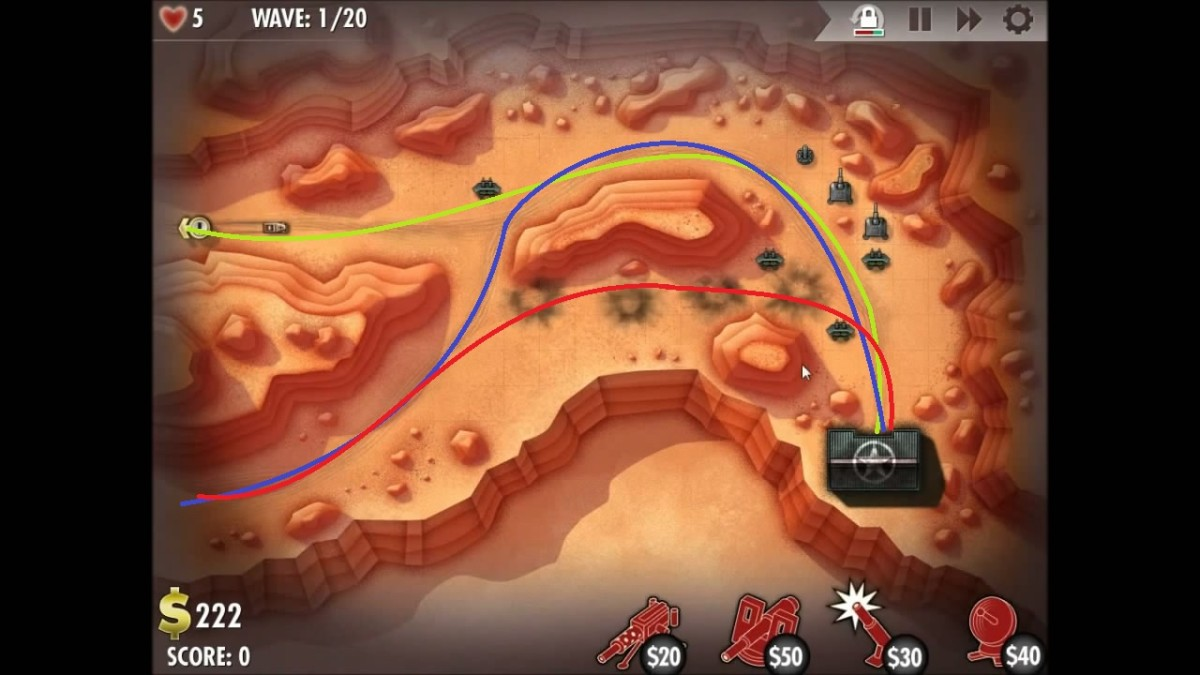 Enemy unit travel paths in the counterattack level of North West Africa.