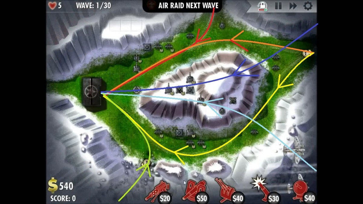 Paths of incoming enemies in the South Eas Europe counterattack level of iBomber Defense. The two blue paths are aircraft while the rest are ground units.