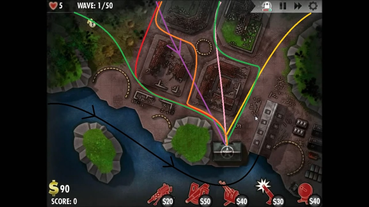 Paths taken by the enemy units in the Germany level of iBomber Defense. Black line is for naval units and purple is for aircraft (arrows) the rest are ground (lines only).