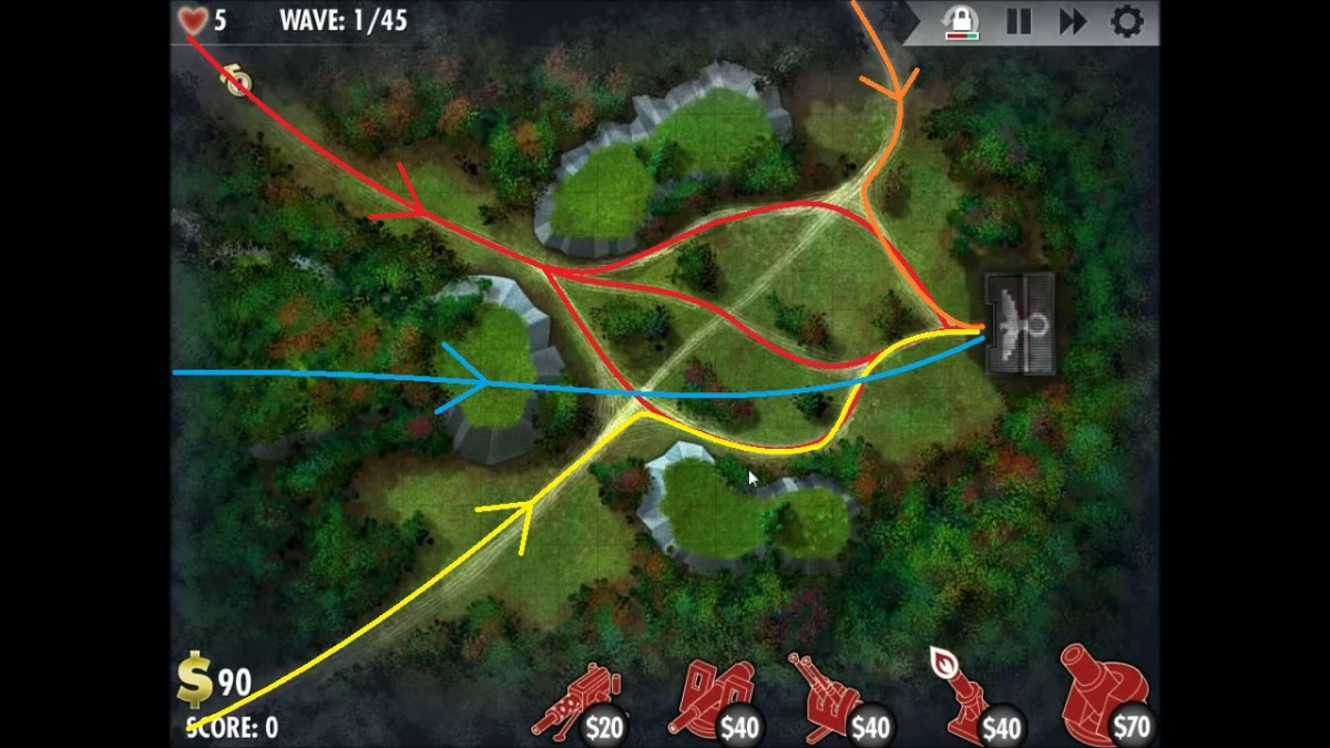 "Routes taken by enemy units in the iBomber Defense, Axis campaign level Western Europe ""Cross of Iron"". Blue path is for aircraft."