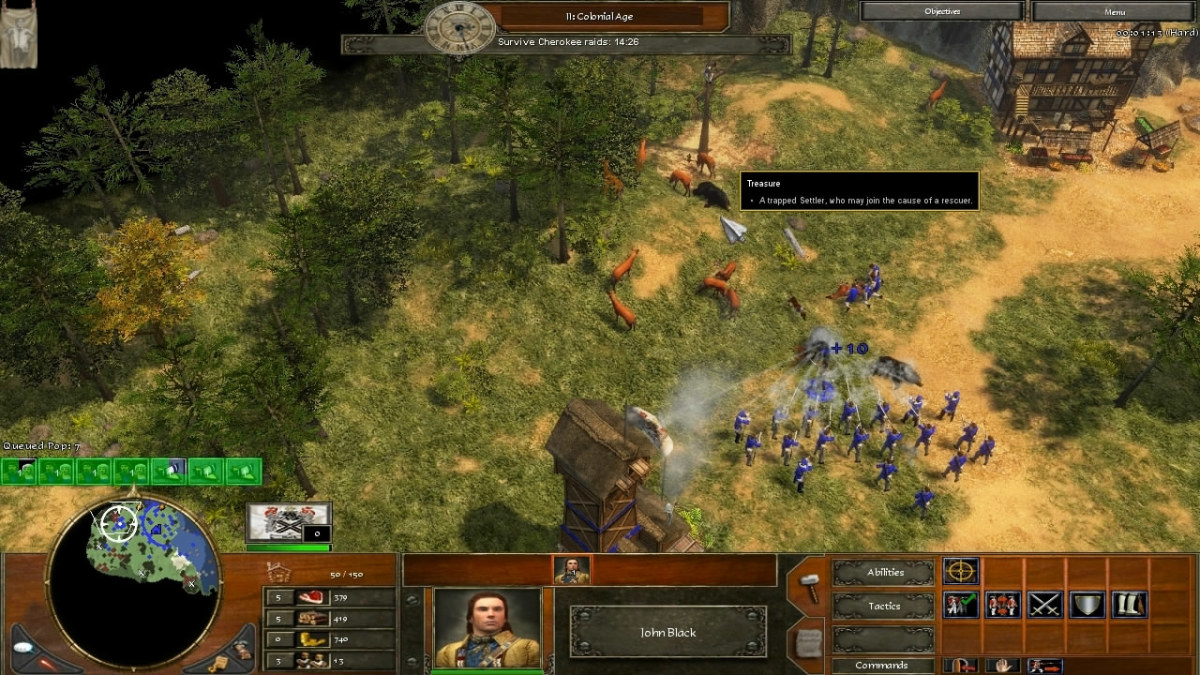 "Rescuing the trapped Settler treasure in ""Defend the Colony"" of Age of Empires 3."