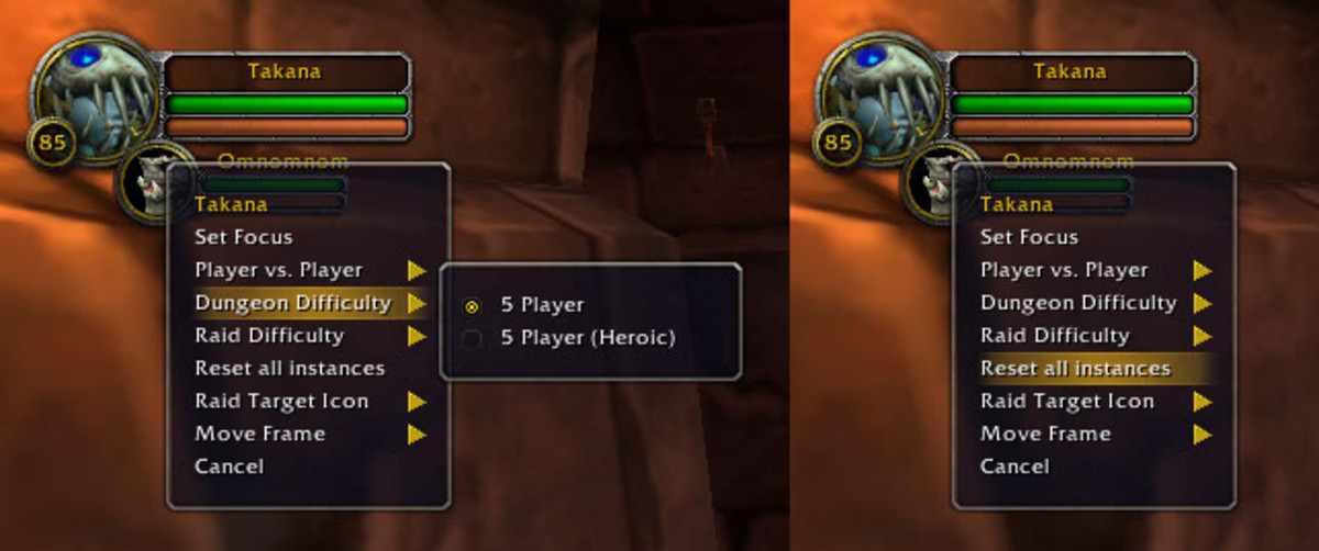 Right Click your character's portrait for Instance options
